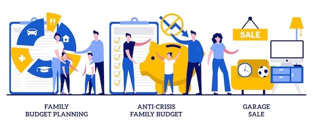 Insieme di pianificazione del budget familiare, budget familiare anti-crisi, vendita di garage