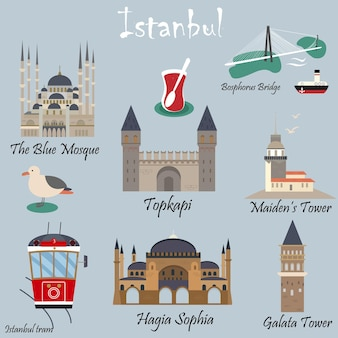Insieme di destinazioni famose e punti di riferimento di istanbul