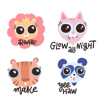 Set di fanny animali con citazioni scritte in camicia. illustrazione disegnata a mano. facce di leone, gatto, tigre e panda. testo calligrafico: ruggisci, brilla tutta la notte, crea, yeehaw.