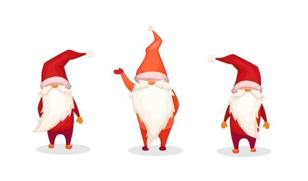 Una serie di fantastici personaggi nani vector cartoon illustration