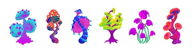 Un insieme di fantastici funghi irreali