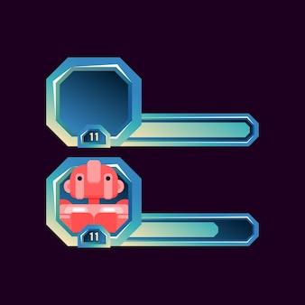 Set di cornice per avatar fantasy con barra per elementi di asset gui