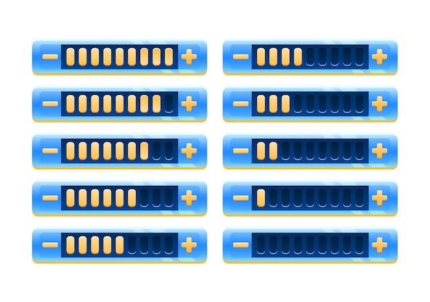 Set di pannello barra di avanzamento dell'interfaccia utente del gioco spaziale blu fantasy con pulsante di aumento e diminuzione