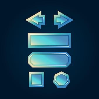 Insieme del pulsante dell'interfaccia utente di gioco 2d lucido di diamanti fantasy