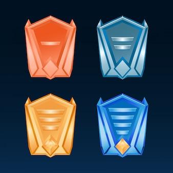 Set di medaglie di bronzo del distintivo dell'interfaccia utente del gioco fantasy