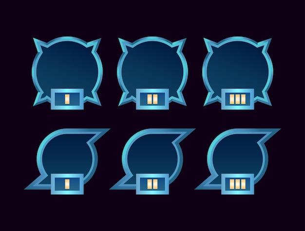 Set di frame avatar confine gioco ui fantasy con grado per elementi asset gui