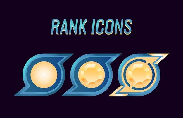 Set di medaglie di rango dell'interfaccia utente di gioco fantasy per elementi di asset gui