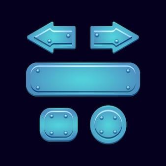 Insieme di elementi di asset dell'interfaccia utente gioco pulsante blu lucido fantasia