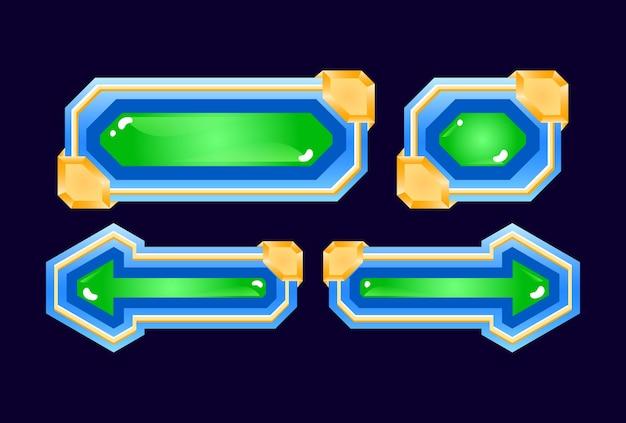 Set di pulsante di gelatina di diamante dell'interfaccia utente di gioco lucido fantasy per elementi di asset gui
