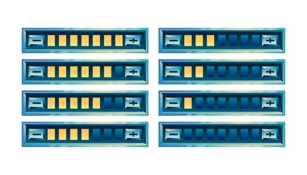 Set di pannello barra di avanzamento dell'interfaccia utente di gioco lucido fantasy con pulsante di aumento e diminuzione