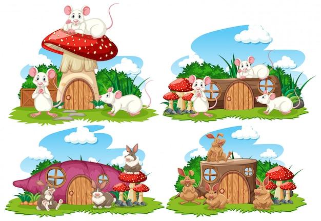 Insieme delle case di fantasia nel giardino con simpatici animali isolati su sfondo bianco