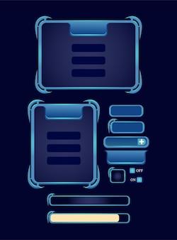 Set di fantasy rpg game ui board pop-up template per elementi asset gui