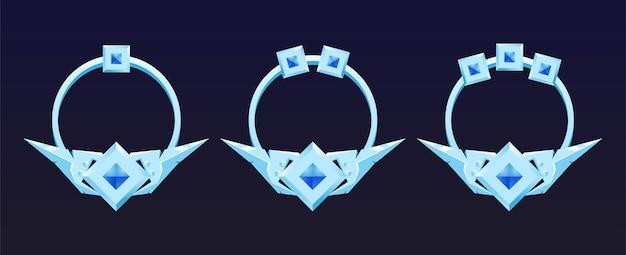Set di pannelli con cornice bordo argento fantasia per elementi di asset dell'interfaccia utente del gioco