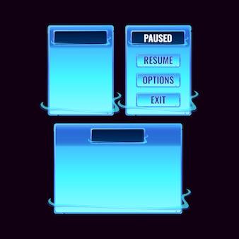Set di schede spaziali fantasy pop-up per elementi di asset della gui