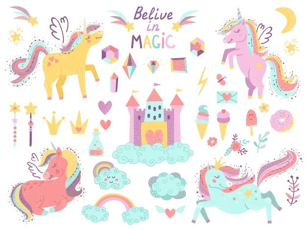 Set di unicorni e oggetti fantasy