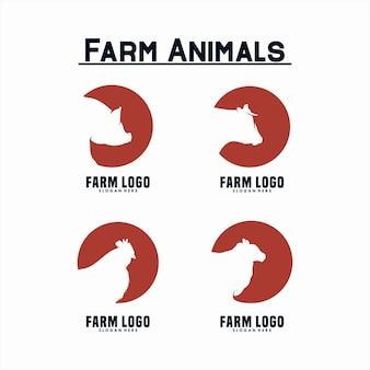Set di design del logo degli animali da fattoria