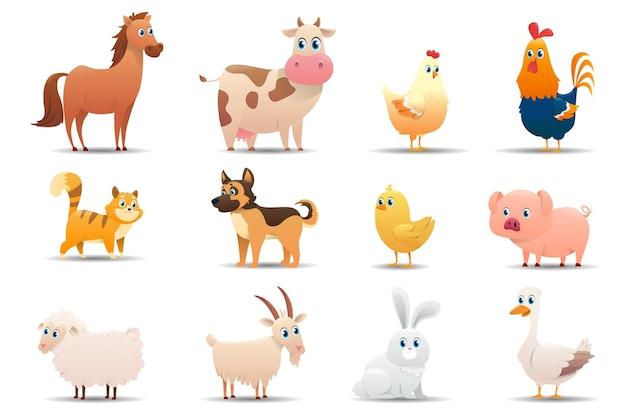 Set di animali da fattoria su uno sfondo bianco