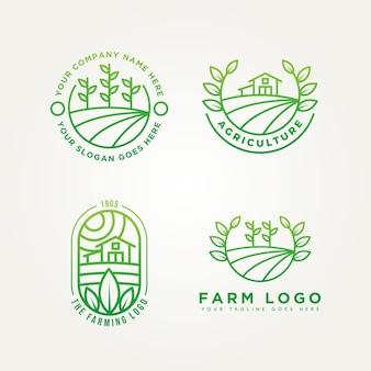Set di fattoria minimalista linea arte emblema icona logo modello illustrazione vettoriale design