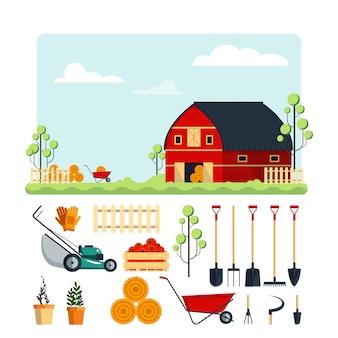 Impostare l'illustrazione piatta di strumenti di fattoria raccolta dell'icona degli strumenti di giardino isolata su fondo bianco. attrezzature agricole, ranch con fieno.