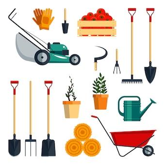 Impostare l'illustrazione piatta di strumenti di fattoria raccolta dell'icona degli strumenti di giardino isolata su fondo bianco. attrezzature agricole.