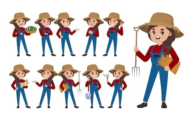 Set di contadino con diverse pose