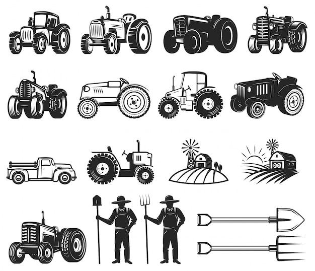 Insieme di elementi di design del mercato degli agricoltori.