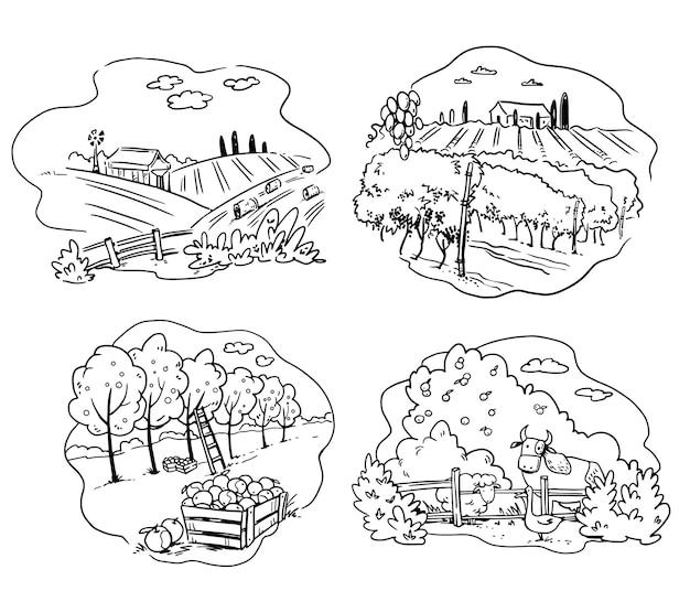 Set di icone di agricoltura, mela, allevamento di bestiame e illustrazione vettoriale di vigneto