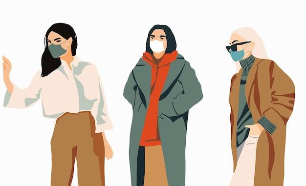 Set di ragazze di moda nell'illustrazione minimalista di maschere facciali mediche protettive