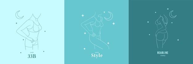 Set di illustrazione di moda del corpo femminile in uno stile lineare alla moda.