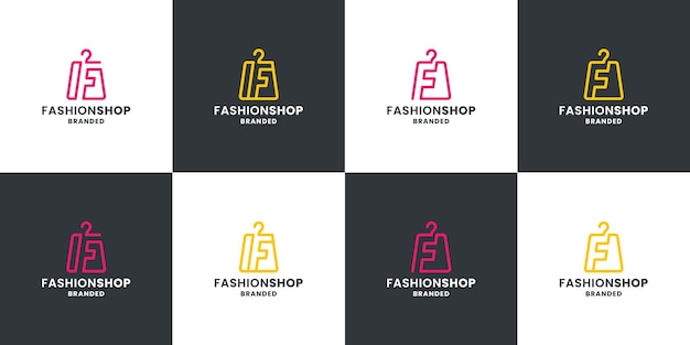 Set di design del logo del negozio di moda. borsa fashion con combinazione lettera f