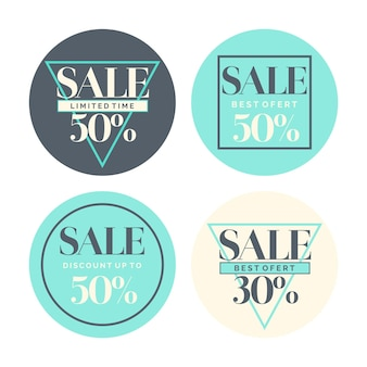 Set di sconti e vendite di adesivi di moda