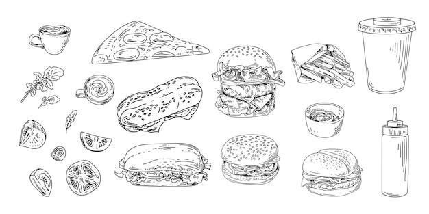 Set di fast food e bevande. lineare vettoriale