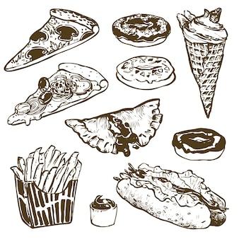 Set di fast food. hamburger, ciambella, gelato, hot dog, patatine fritte, pizza. illustrazione per prodotti menu, ricette e pacchetti