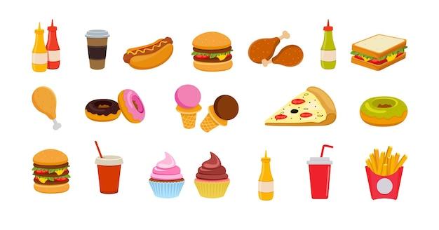 Impostare le icone di fast food isolate su sfondo bianco