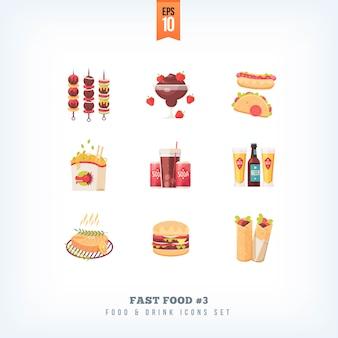 Insieme delle icone degli alimenti a rapida preparazione su fondo bianco