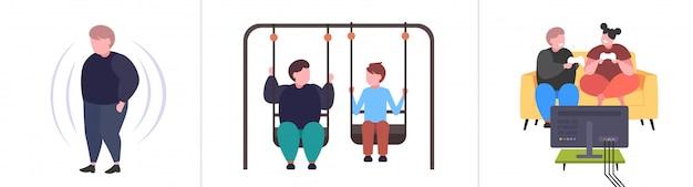 Impostare le persone obese grasse in diverse pose sovrappeso maschio femmina personaggi raccolta obesità concetto di stile di vita malsano Vettore Premium