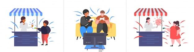 Impostare le persone obese grasse in diverse pose sovrappeso mix gara maschio femmina personaggi collezione obesità concetto di stile di vita malsano Vettore Premium