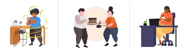 Impostare le persone obese grasse in diverse situazioni sovrappeso mix razza maschio femmina personaggi raccolta obesità concetto di nutrizione malsana