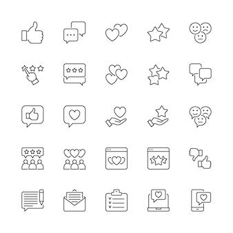 Set di icone della linea di feedback. pollice su, mi piace, non mi piace, cuori, chat, sms e altro.