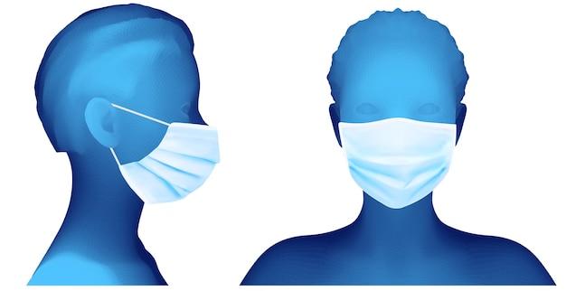 Insieme del ritratto femminile 3d nella priorità bassa bianca della mascherina medica
