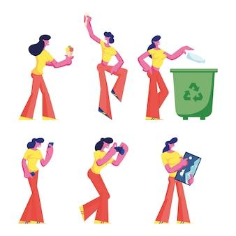 Set di personaggi femminili. cartoon illustrazione piatta Vettore Premium