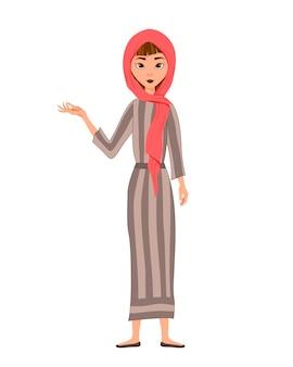 Set di personaggi femminili. la ragazza indica la mano destra a lato.