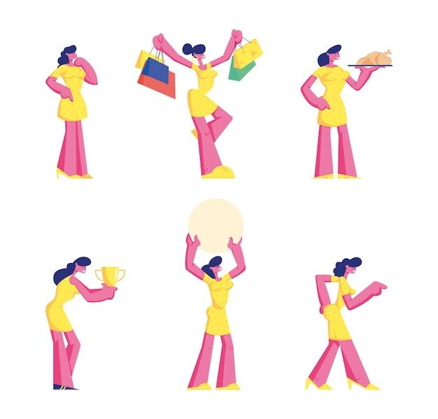 Set di personaggi femminili che indossano abito giallo stand in diverse posture, fumetto illustrazione piatta