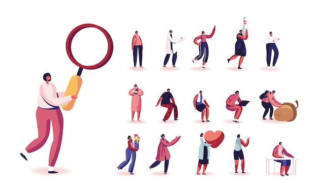 Set di personaggi femminili con lente d'ingrandimento, ghianda e cuore rosso, corsa sportiva, giocare a bowling, tenere bottiglia