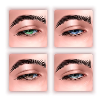 Un insieme di occhi femminili in stile realistico isolato