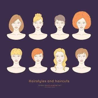 Insieme di volti femminili con diverse acconciature e tagli di capelli sagome di testa per barbiere e salone di bellezza.