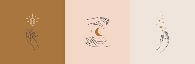 Una serie di loghi di mani femminili in uno stile lineare minimale. modelli di design del logo vettoriale con diversi gesti delle mani, luna, stelle e cristallo. per cosmetici, bellezza, tatuaggi, spa, manicure, gioielleria