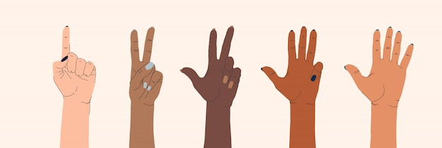Set di mani femminili di diverse nazionalità e gesti su uno sfondo isolato.