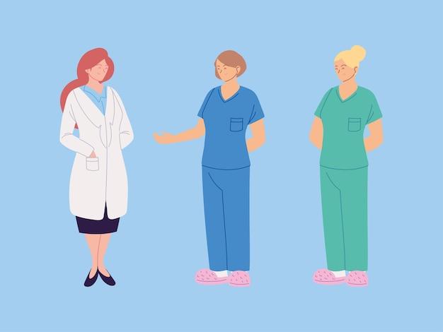 Set di disegno di illustrazione di operatori sanitari, medici e infermieri femminili
