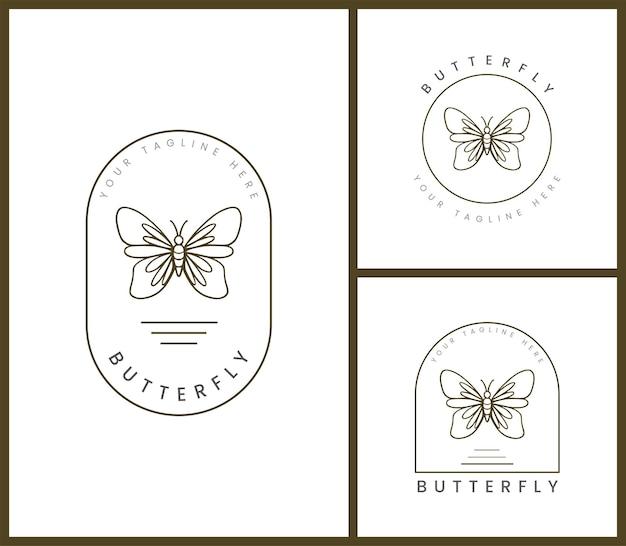 Set di modello di logo distintivo femminile per illustrazioni di farfalle